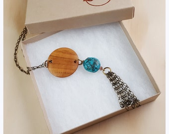 Wood Medallion, Long Necklace, boho necklace, reclaimed wood jewelry, long necklace, gypsy jewelry, hippie chic, upcycled necklace -WN007