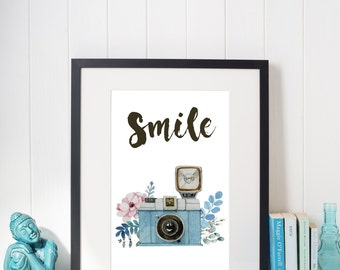 Smile Pink Blue Watercolour Camera Inspirational Motivational Wall Art Print
