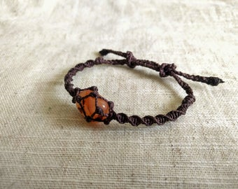 Macramé wrapped Carnelian bracelet