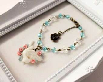 Spring Dove Brazalet, Lolita cute kawaii sweet paloma primavera rosa brazalete