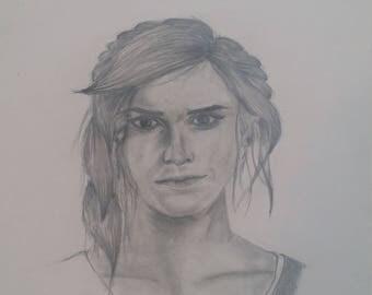Pencil, drawing, portrait