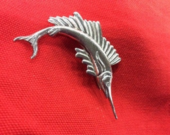 Sterling silver Swordfish brooch