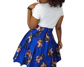 African skirt, Midi skirt, African midi skirt, African clothing, Ankara skirt, African print, Blue midi,  ankara midi