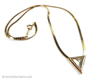 Vintage Avon Triangle Rhinestone Necklace, Jewelry 1980s, Dazzle Dots, Minimalist Geometric, Pendant, Goldtone Gold