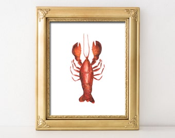 Watercolor Lobster Nautical Printable Wall Art Nautical Beach House Print Lake House Print Lobster Kitchen Home Decor Nautical Nursery Print