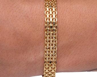 Thick Chain Bracelet, Chain Bracelet, Gold Chain Bracelet, Multi Chain Bracelet, Flat Chain Bracelet, Wide Bracelet Boho, Gift for Her.