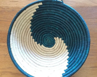 "Mali hand woven African basket // teal and natural color swirl // 13.5"" round"