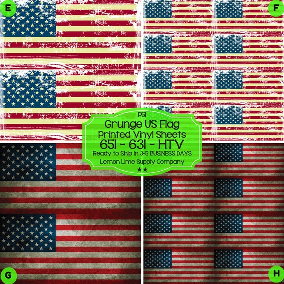 Grunge American Flag Vinyl Printed Heat By Smashinginkvinyl