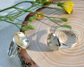 Dandelion Ring, Dandelion Seed Ring, Gift for Her, Wish Ring, Eco Resin Ring, Terrarium Jewelry, Eco Resin Jewelry, Dandelion Jewelry