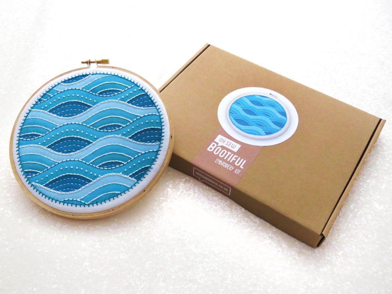 Modern embroidery sampler kit waves hand