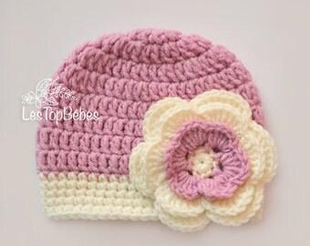 Mauve Baby Girl Crochet Hat, Baby Girl Hat, Flower Girl Beanie, Mauve and Cream Hat, Hats for Baby Girl, Hospital Girl Hats, Hat