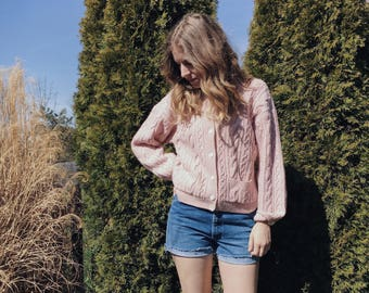 Blushy Pink Cable Knit Cardigan // Size S/M