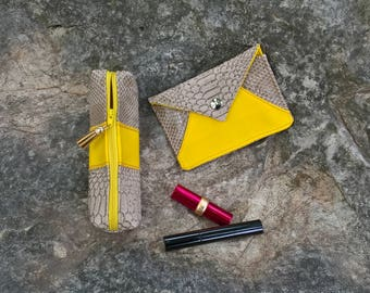 Pochettte Beige and yellow - door card Kit - set pockets Beige and yellow - makeup pouch beige and yellow