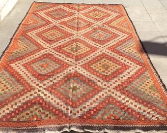 Cicim turkish kilim rug - 10 x 5 ft
