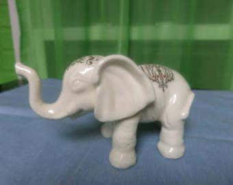 White Elephant Statue / Figurine with Colorfully Painted Details