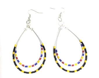 Pittsburgh Steeler Inspired Earrings, Football Earrings, Team colors, Beaded Hoop Earrings