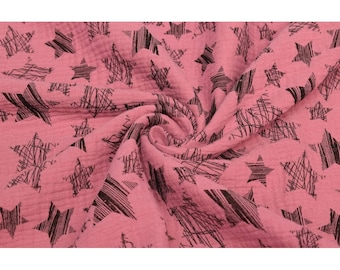 Cotton Double Gauze Fabric - Stars in Rose Pink - Swaddle Muslin Fabric - UK Seller