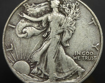 1943 U.S. Walking Liberty Silver Half Dollar Coin, Average Circulated Condition