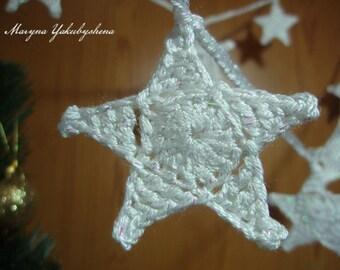 Star garland Holiday ornaments Christmas garland Crochet garland Winter decor Christmas decoration Christmas tree ornament Festive decor