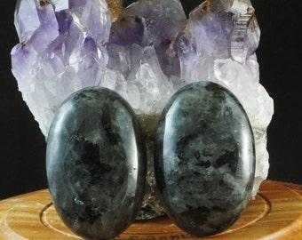 Natural Larvikite cabochon stone - set (E63)