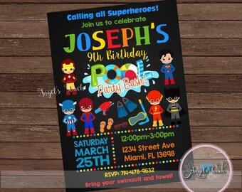 Superhero Pool Party Invitation, Superhero Pool Birthday Invitation, Superheroes Pool Party Invitation, Superheroes Invitation, Digital File