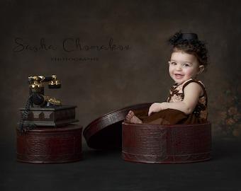 digital backkdrop background todler  6 months old boy or girl vintage brown