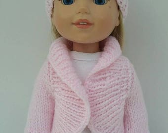 "14.5"" doll clothing - pale pink shawl collar sweater and hat."