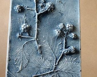 Plaster Cast Tile - Brambles - Wild Flowers - Botanical - Edinburgh - Scotland