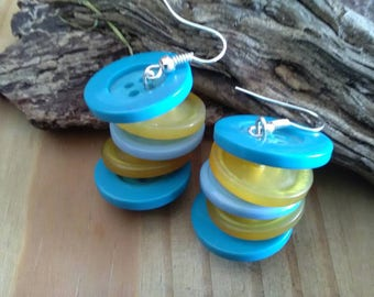Blue & Yellow Button Dangle Earrings