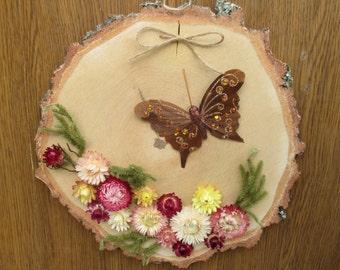 wall decor, rustic wall decor, birch slice decor, dried flower arrangement, floral arrangement, wall hanging, wood wreath, easter wreath