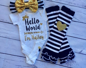Hello World, new baby bodysuit with or without name, new baby, baby shower, glitter baby, sparkle