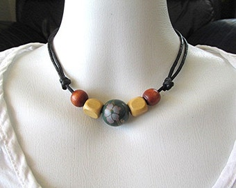 Wooden bead choker necklace wooden bead choker necklace adjustable cord ceramic bead pale green boho necklace hippie necklace vegan gift