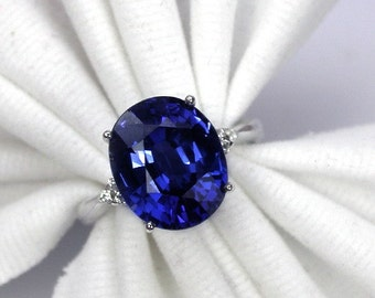 Certificate free 3.8 ct Wedding ring blue sapphire ring silver sterling.