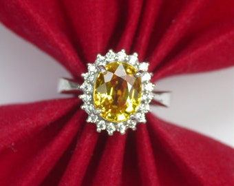 Wedding ring 4.25 ct yellow sapphire ring silver sterling.