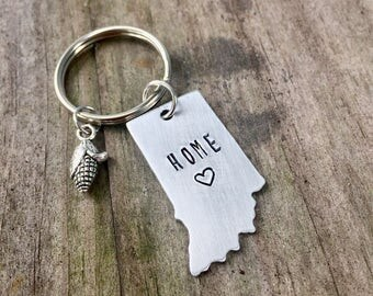 Indiana Home Keychain Hand Stamped Hoosier State Indiana Charm Key Chain New Home Indianapolis Indiana Corn