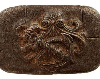Octopus Belt Buckle Octopus Anchor Pirate Steampunk Belt Buckle Copper Finish Pirate Belt Buckle Octopus Belt Buckle Vintage Steampunk Gift