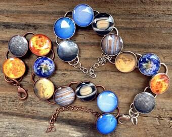 Solar System Bracelet / Planet Bracelet / Space Jewelry / Galaxy Jewelry / Science Gift / Solar System