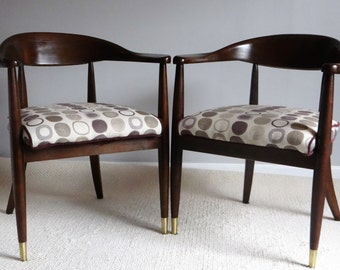 Brass Tipped Mid-Century Chair Pair - Walnut Frame, Splayed Legs