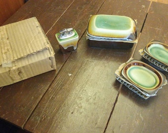 Ashtray, Lighter, Cigarette Holder, Pottery ( Mint)