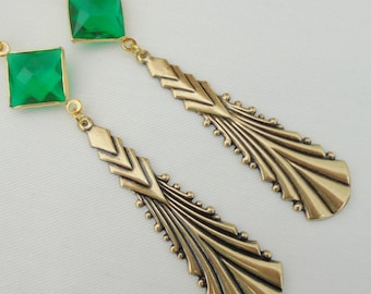 Art Deco Egyptian Revival  Art Nouveau Long Drop Statement Earrings