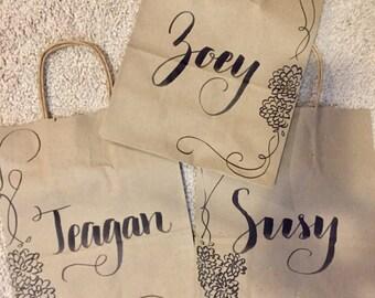 Small Bridesmaid gift bag - custom kraft bag - bridesmaid gift - flower girl gift bag