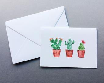Three Cacti In A Row Cards // 1 pack / 5 pack / 10 pack // A6 Charity Greetings Card // Blank Cactus Watercolour Cards