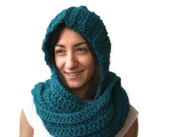 Hooded Scarf in Teal Handmade Hooded Scarf for Women Winter Accessories,Crochet Scoodie