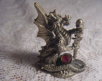 the tudor mint,myth and magic rare pewter dragon,the regal dragon cc06 by a.g.slocombe