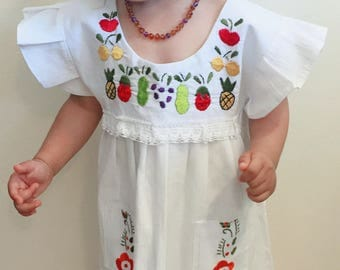Summer Girls Dress Fruits Hand Embroidered ( 2-3T)