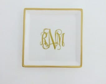 Large GOLD Monogram Jewelry Dish | Personalized Jewelry Dish | Monogram Ring Dish | Personalized Ring Dish | Engagement Gift | Gift for Her