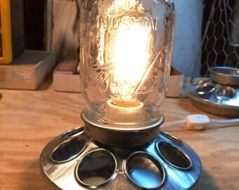 Chicken Feeder Mason Jar Lamp