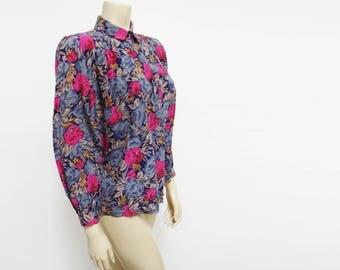 Vintage Silk Blouse, Floral, UK16, Secretary Blouse, Shirt, Ladies Clothing, Ladies Shirt, Blouse, Boho Top, Hippie, Festival Clothing