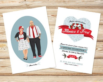 Wedding Portrait Illustration, Wedding Invitation, Wedding Portrait, Wedding gift, Wedding card, Save the Date,Couple Portrait, Rockabilly