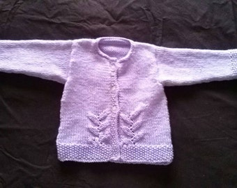 Lillac/ Mauve/ Light Purple Baby Girls Long Sleeve Jacket /Cardigan With Lacy Panels 6-9 Months or 00 (approx) and 9-12 Months or 0 (approx)
